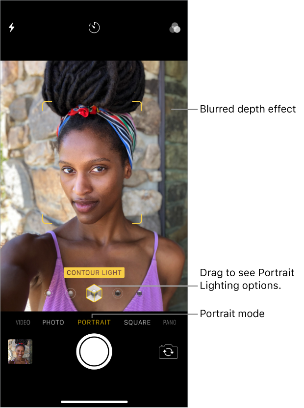 Camera in Portrait mode, showing the Portrait mode selector and the Portrait Lighting options near the middle of the screen.