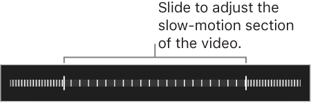 The control for setting which section of video plays in slow motion
