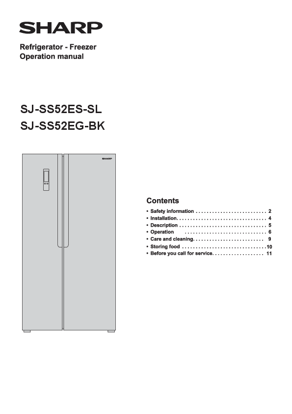 SHARP Side-by-Side Refrigerator User Manual - Manuals+