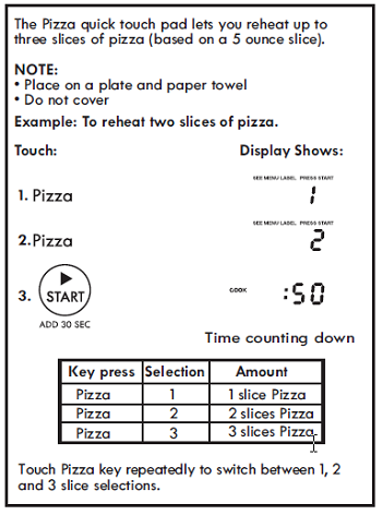 SETTING PIZZA (Control Panel Feature 6)