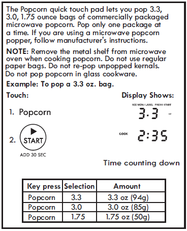 SETTING POPCORN (Control Panel Feature 5)