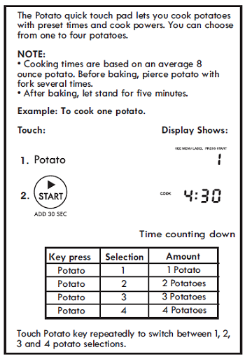 SETTING POTATO (Control Panel Feature 9)