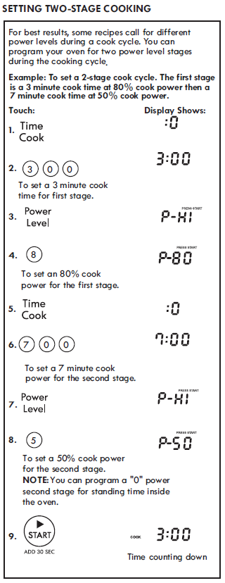 SETTING TWO-STAGE COOKING