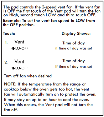 USING VENT FAN (Control Panel Feature 19)
