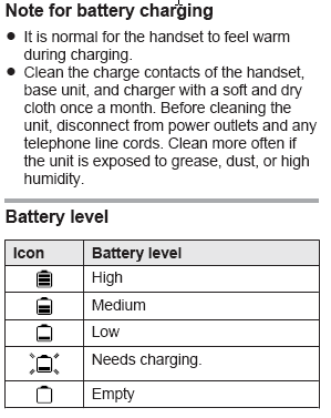 Note for battery charging