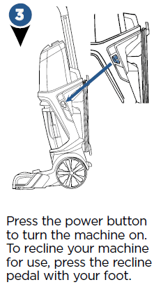 Press the power button to turn the machine on