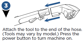 Attach the tool to the end of the  hose.