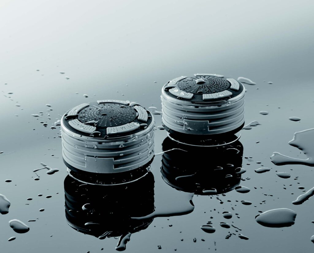 dual shower speakers showing off water resistance