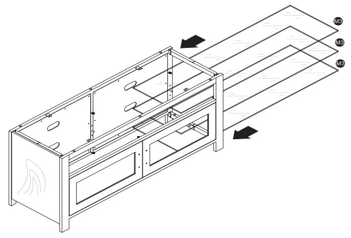 Insignia NS-HWMG1754G TV Stand - Installing the glass shelves