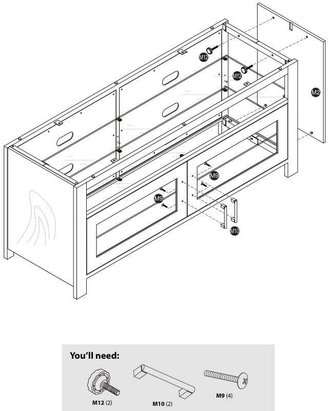 Insignia NS-HWMG1754G TV Stand - Installing the right side and door handles