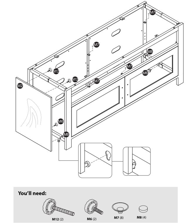 Insignia NS-HWMG1754G TV Stand - Securing the hinged sides and the left side panel