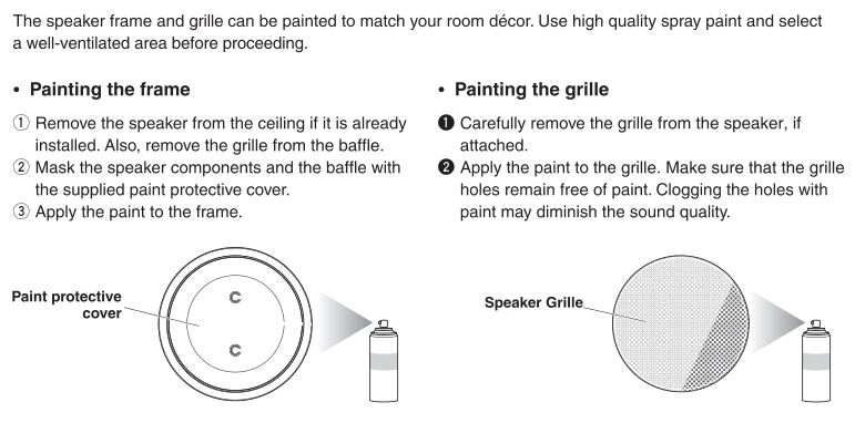 Yamaha In-Ceiling Speaker NS-IW280C - Painting the frame and Grille