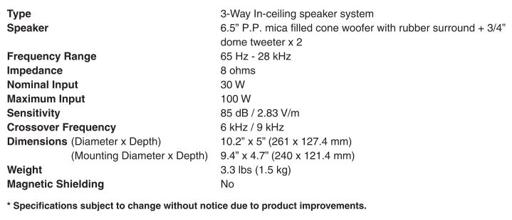 Yamaha In-Ceiling Speaker NS-IW280C - Specifications