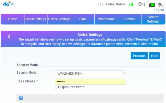 Yeacomm YF-P21 Indoor CPE 4G WiFi Router - Quickly Config Guide-WiFi password settings