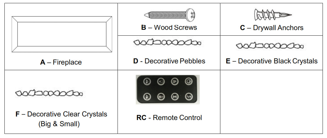 Built-in Electric Fireplace - Parts and Hardware