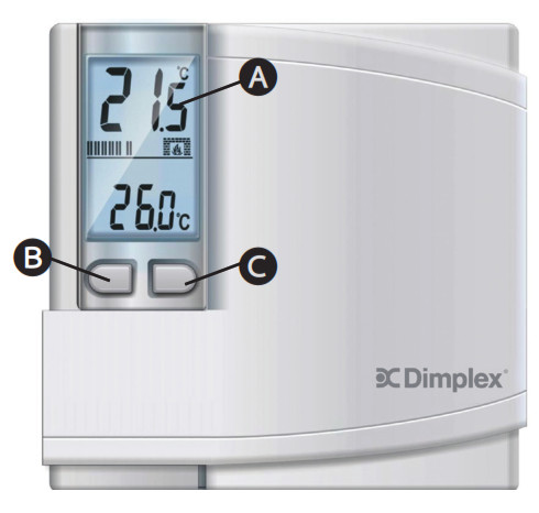 Dimplex DWT431W Non-Programmable Thermostat - Adjusting the Desired Set Temperature
