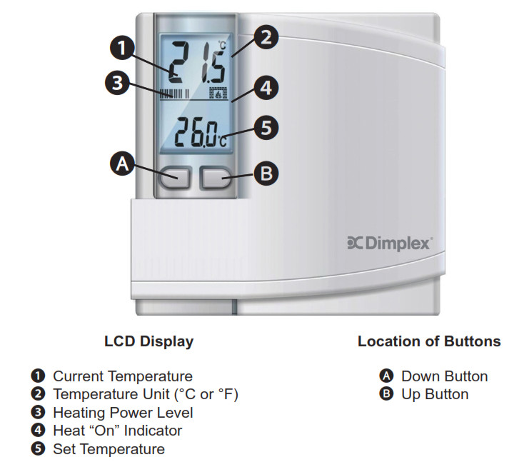 Dimplex DWT431W Non-Programmable Thermostat - LCD Display Buttons