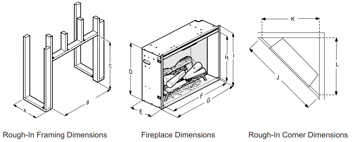 Fireplace Insert RBF24DLX - Rough-In Framing