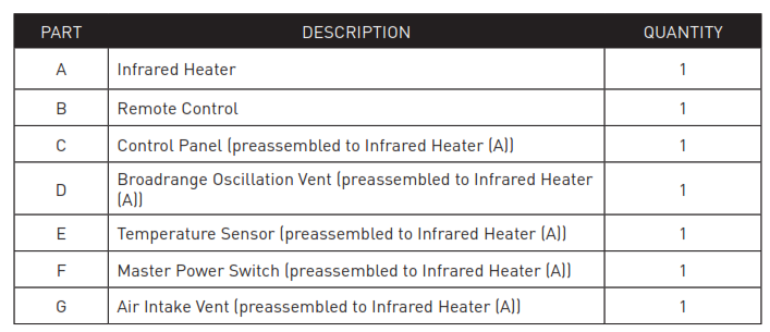 LifeSmart Infrared Tower Heater - PACKAGE CONTENTS1