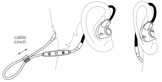 MEELECTRONICS Bluetooth Wireless Headphones X7 - Tighten the sliding cable cinch to fix the earphones
