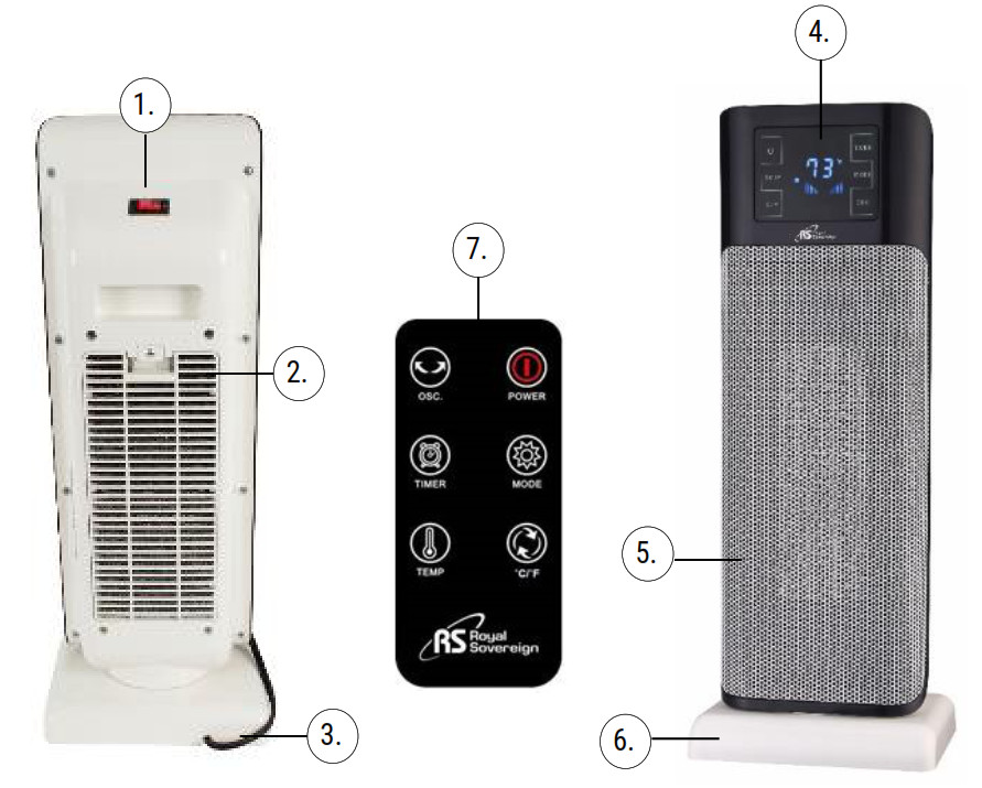 Royal Sovereign Digital Ceramic Tower Heater HCE-220 - PRODUCT VIEW