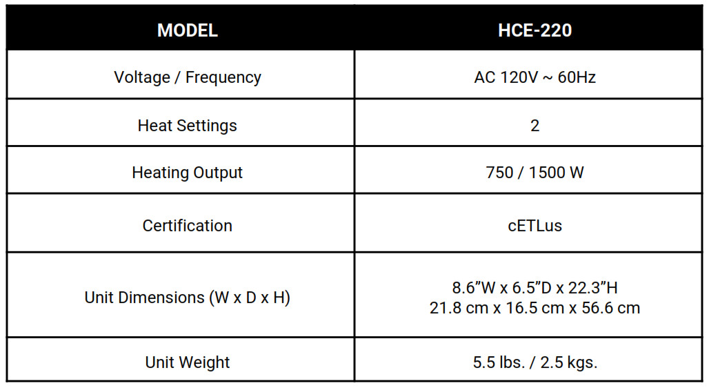 Royal Sovereign Digital Ceramic Tower Heater HCE-220 - SPECIFICATIONS