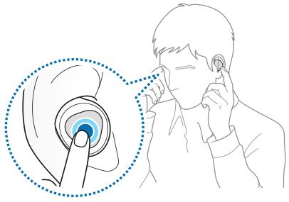 Samsung Galaxy Earbuds - tap and hold both earbuds' touchpads while wearing them