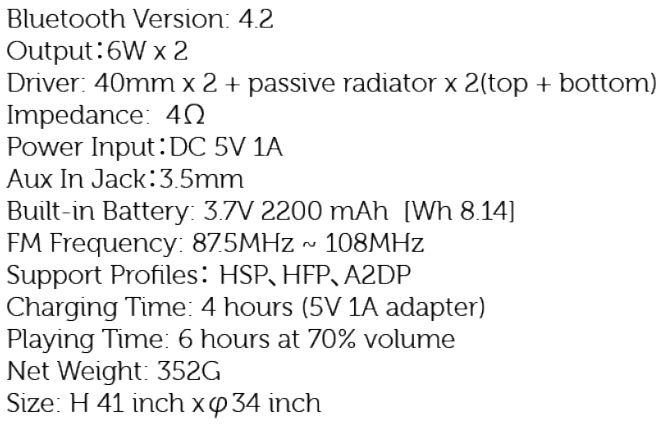 Sbode 06 Portable Bluetooth Speaker - Technical Data