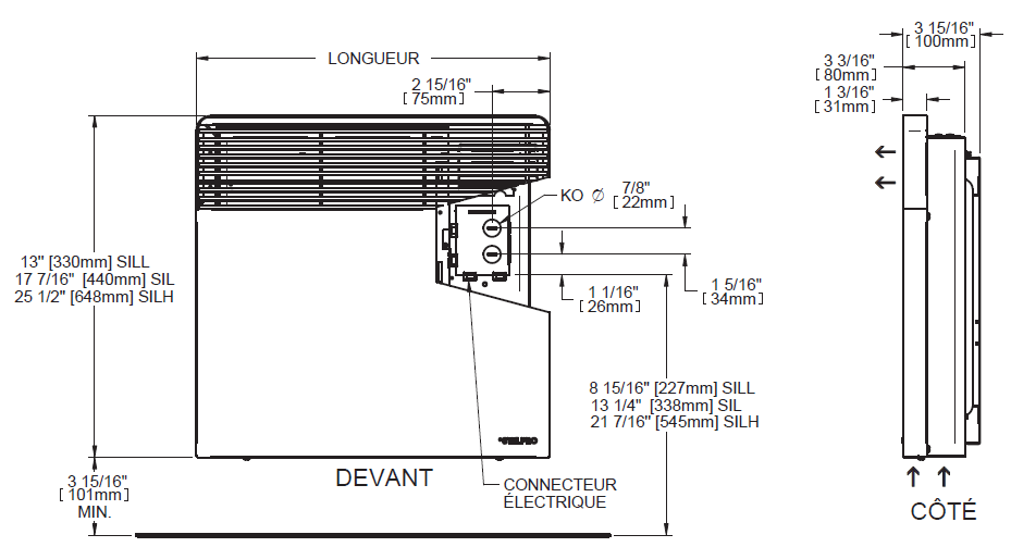 StelPro Electric Covector - technical drawings