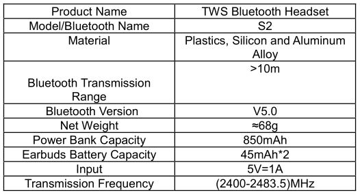 TWS Bluetooth S2 Headset - Product Specifications