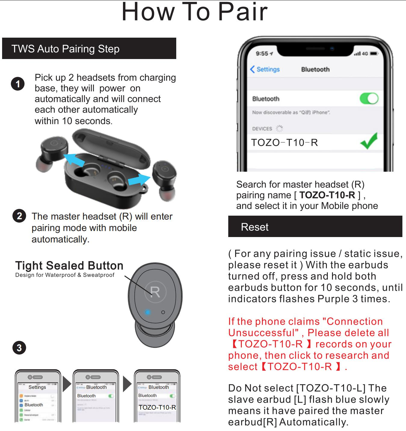 Tozo T10 TWS Wireless Earbuds Pairing Guide