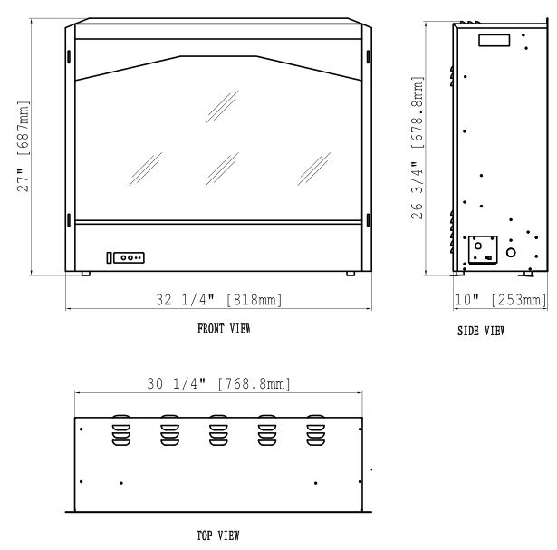 Travis 564 Electric Fireplace-Insert - Dimensions