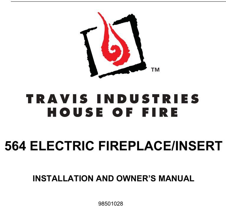Travis 564 Electric Fireplace-Insert User Manual