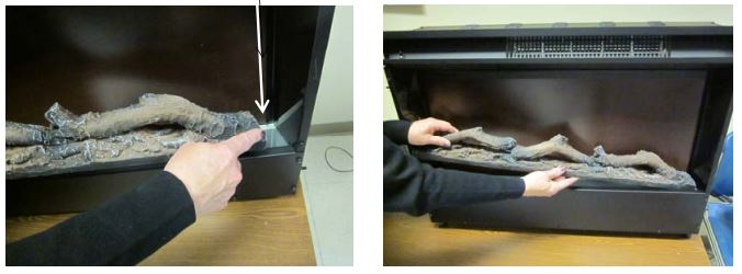 Travis 564 Electric Fireplace-Insert - carefully remove the tabs
