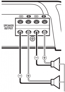 When connecting to two speakers 1