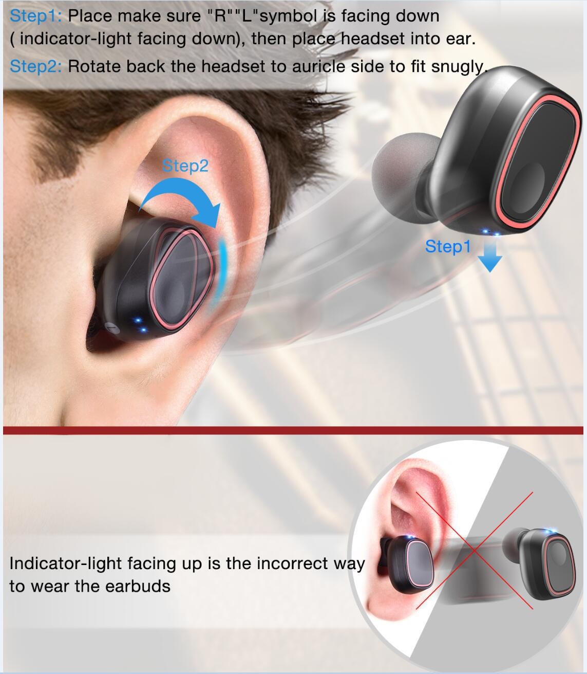 otate back the headset to auricle side to fit snugly
