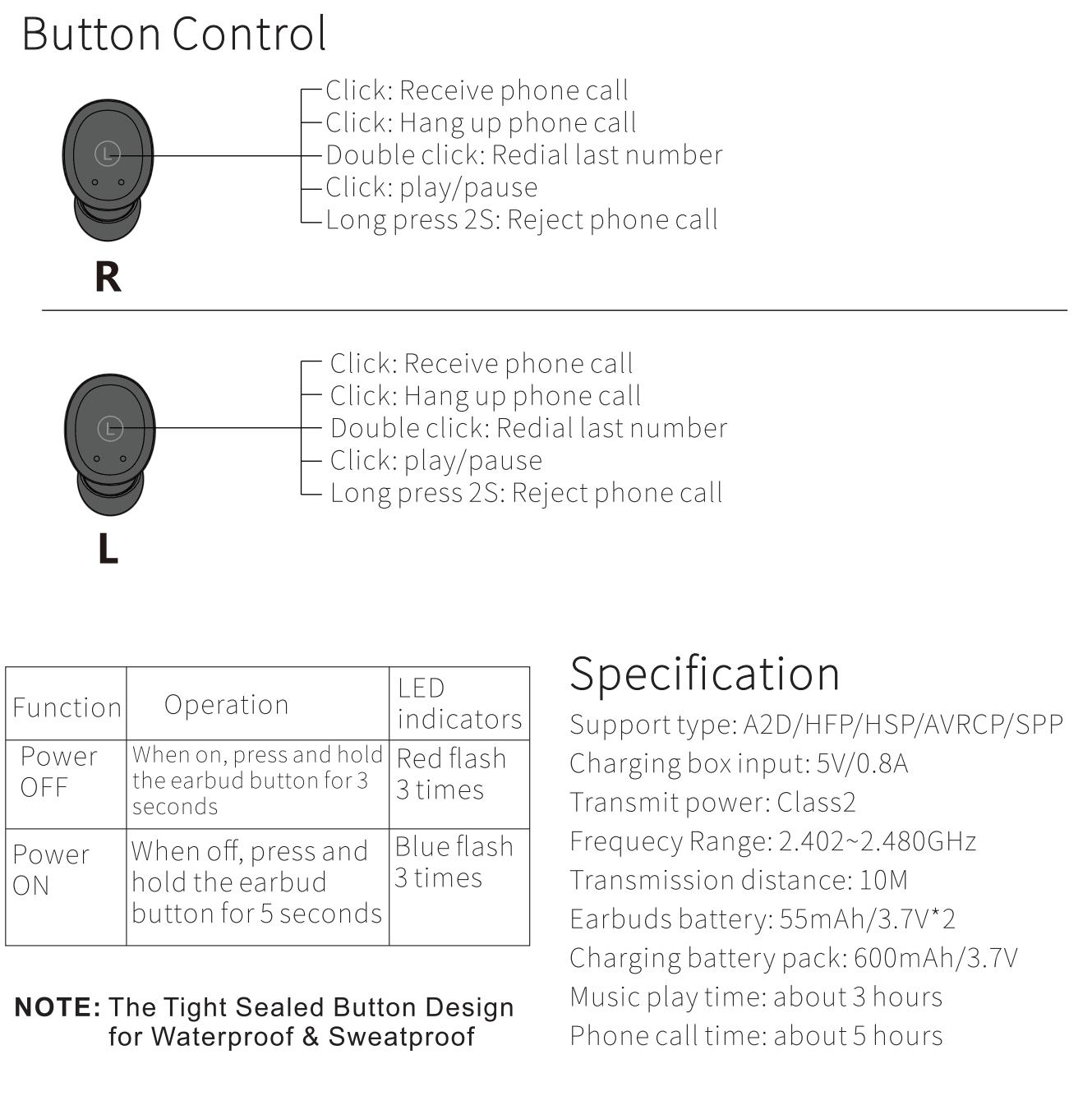 tozo-t10-tws-wireless-earbuds-pairing-guide- Button Control