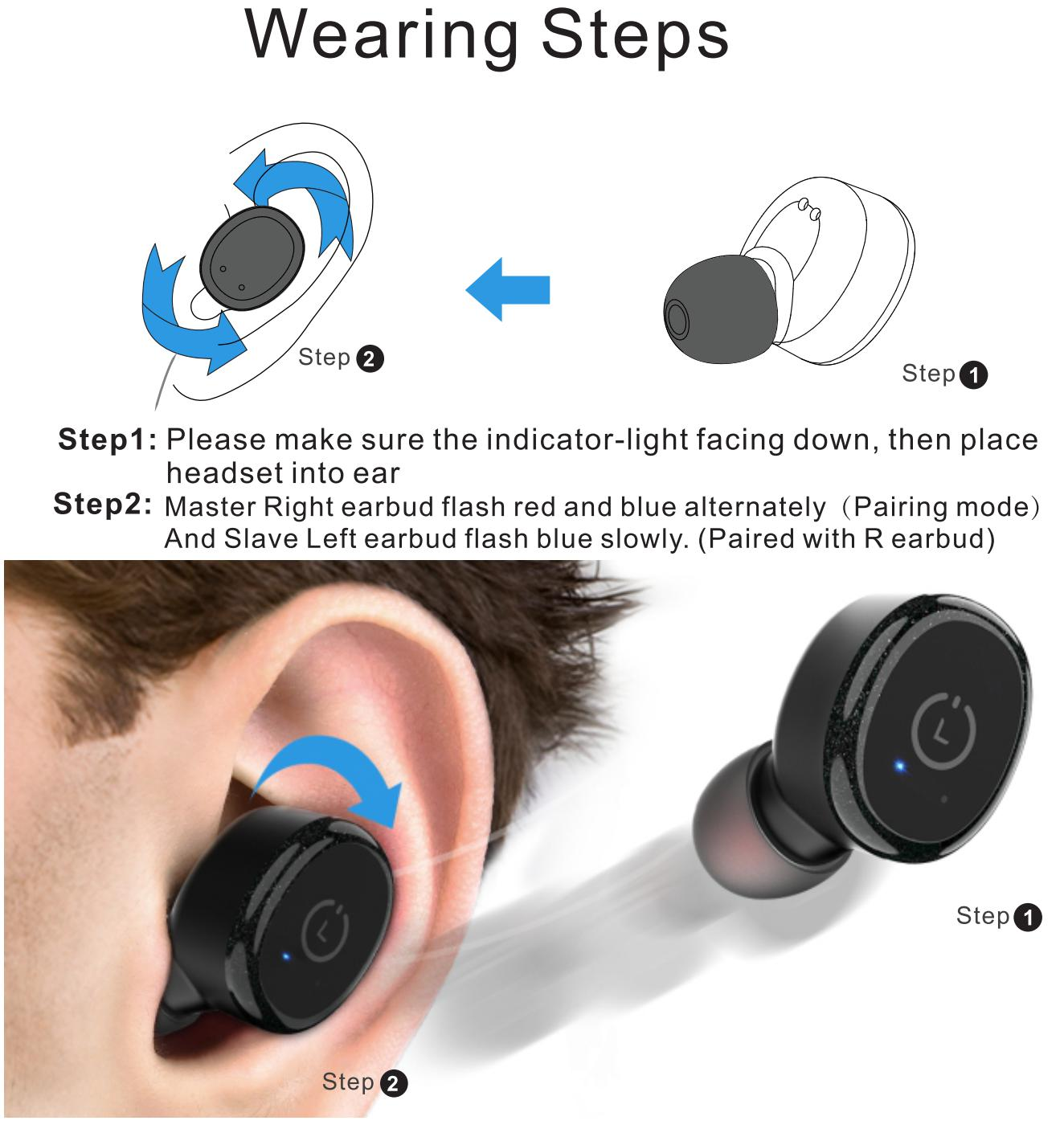 tozo-t10-tws-wireless-earbuds-pairing-guide- Wearing Steps